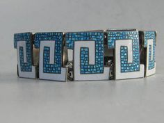 Beautiful vintage enamel sterling Margot de Taxco bracelet.