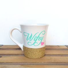 Love this mug! But I want silver glitter and black lettering with a pink heart! This whole etsy shop is super cute!