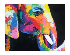 Colorful elephant painting acrylic on canvas wall decor by artist Sumaree Nunsang from Thailand. The painting not ready to hang, It is no frame. This is hand painted not a print. The paintings were copy from one piece to another, not an original one. Canvas size: 40 x 80 cm (width 80 cm,