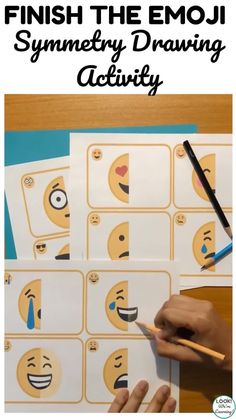 Practice math and art together with this emoji drawing symmetry activity! Symmetry Activities, Drawing Activities, Fun Activities For Kids, Crying Emoji, Laughing Emoji, Emoji Craft, Summer Drawings, Summer Art Projects, Drawing Practice