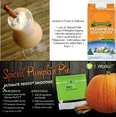 Spiced Pumpkin Pie Smoothie! What a great way to start off your morning this Autumn! www.itworkswi.com