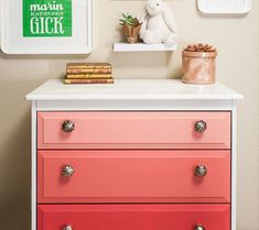 I love the idea of painting the dresser drawers different shades! Could work for a boy's or girl's room