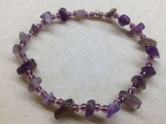 Handmade AMETHYST Gemstone Bead BRACELET Chakra Healing Energy Balancing   eBay