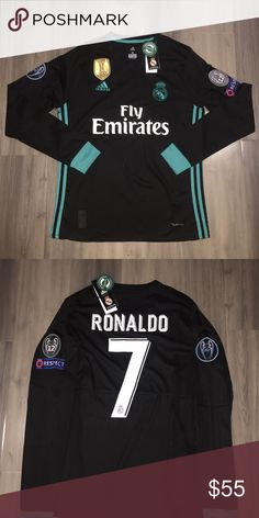 7ed5b399b Cristiano Ronaldo Champions League Jersey 17 18 Brand New Ronaldo Long  Sleeve 3rd Black 17