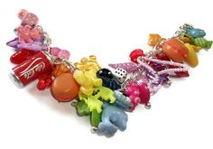Gumball Charm Bracelet Coloured plastic by KitschBitchJewellery, $19.99