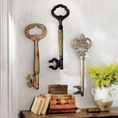 Set of Three Vintage-inspired Wooden Keys