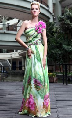 beautiful printed floral one shoulder long evening dress