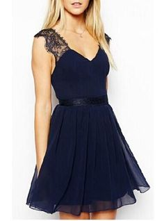Womens Lace Dress - Lace Shoulder / Blue / Flow Skirt Bottom