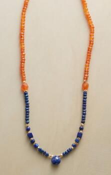 This handmade carnelian and lapis necklace captures the sky's stunning contrast.