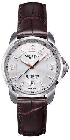 Certina DS Podium Genuine Brown Leather Mens Automatic Watch by Certina -- Awesome products selected by Anna Churchill Fine Watches, Sport Watches, Men's Watches, Daniel Wellington, Tommy Hilfiger, Automatic Watches For Men, Luxury Watches, Quartz Watch, Barista