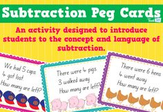 Subtraction Peg Cards