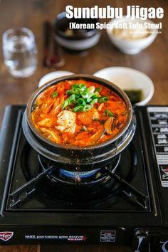 Sundubu Jjigae (Korean spicy soft tofu stew) | MyKoreanKitchen.com