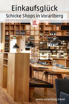 Wohin, wenn man typische Produkte aus Vorarlberg sucht oder Hochwertiges, das hierzulande in Handarbeit erzeugt wird? Landauf, landab gibt es eine Reihe von Geschäften, Käsehäusern, Museumsshops und Ab-Hof-Läden, die Besonderes bieten und dazu ein angenehmes Einkaufsambiente. Viele dieser ästhetischen Shops präsentieren sich im Stil der zeitgenössischen Vorarlberger (Holz-)Architektur. Die Inhaber und Mitarbeiter erzählen gerne über ihre Produkte und wie sie hergestellt werden. Shops, Environment, Addiction, Travel Advice, Contemporary Design, Chic, Shopping, Products, Tents