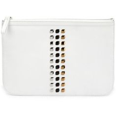 Pierre Hardy studded zip clutch (15.086.610 VND) ❤ liked on Polyvore featuring bags, handbags, clutches, white, studded purse, studded handbags, white studded purse, pierre hardy and zipper handbag