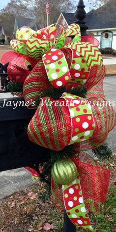 Mailbox Swag with red & lime green mesh and chevron & polka dot ribbon/ bow