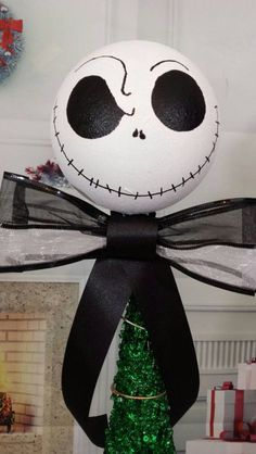 """Nightmare before Christmas tree topper, Jack white head tree topper,Christmas ornament, nightmare before Christmas decoration 13"""""""
