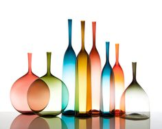 Joe Cariati Glass Collection, Glassblower in Los Angeles, Contemporary Decanters Colored Glass Bottles, Small Bottles, Clear Glass, Glass Art, Glass Photography, Bottle Vase, Glass Collection, Vases Decor, Bronze