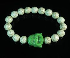 Turquoise Smile Light Green Buddha Head White Ball Beads Stretch Bracelet 344
