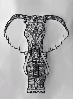 : An elephant drawing that captures the simplicity of this majestic animal. Elephant Tattoo Design, Elephant Tattoos, Elephant Love, Elephant Art, Henna Elephant, Elephant Family, Tinta Tattoo, Henna Designs, Tattoo Designs