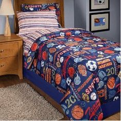 In Style Retro Sports Bed in a Bag Bedding Set, Multicolor Kids Sports Bedroom, Sports Bedding, Boys Comforter Sets, Queen Bedding Sets, Pottery Barn Teen Bedding, Big Boy Bedrooms, Bed In A Bag, Bedding Sets Online, Bed Styling