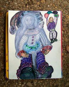 """Saatchi Art Artist Beverly Peters; Drawing, """"Clown an Juggler"""" #art"""