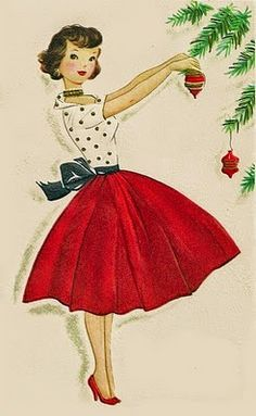 A 1950s Christmas card. Love this image!!  Emily's Vintage Visions