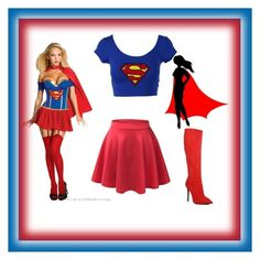 """superwoman halloween costume"" by tinavanrheede ❤ liked on Polyvore featuring Giuseppe Zanotti and LE3NO"