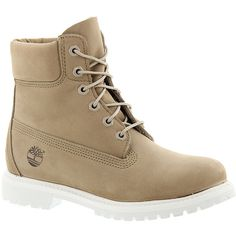 """Timberland Icon 6"""" Premium Boot (£120) ❤ liked on Polyvore featuring shoes, boots, bone, waterproof boots, leather shoes, water proof shoes, waterproof footwear and timberland footwear"""