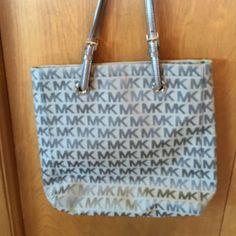 Michael Kors Bag Gray large Micahel Kors bag.   16 W x 14 H x 3 Deep.  Great shape.  Just seemed too deep for me. Silver handles.  Bought from Neiman Marcus. MICHAEL Michael Kors Bags Shoulder Bags
