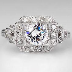 1950's Genuine Diamond Retro Vintage Engagement Ring Solid Platinum Fine Estate #SolitairewithAccents