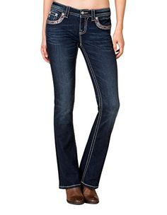 71b8efe5a7e Miss Me Womens MidRise Feather Embroidered Bootcut Jeans Extended Sizes  Blue 30   To view further