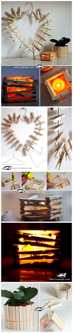 clothes pins art, could use this for Christmas cards.