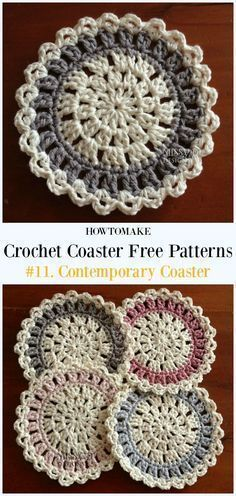 Crochet Contemporary Coaster Free Pattern - Easy #Crochet Coaster Free Patterns