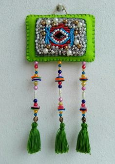 Evil Eye, Sewing Hacks, Badges, Tassel Necklace, Tassels, Patches, Bohemian, Wall Decor, Accessories