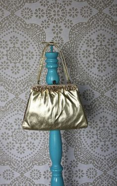 Vintage 1950's After Five Gold Lame Purse by pursuingandie on Etsy, $28.50