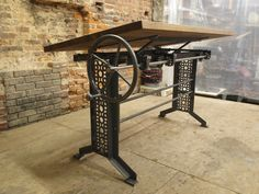 Oak Industrial Drafting table desk by CamposIronWorks on Etsy