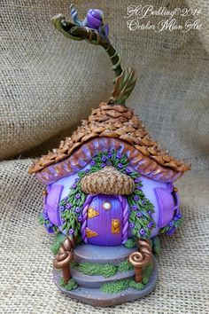Miniature Fairy Faerie House...Tiny AcornCap by OctoberMoonArt