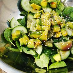 Spinach Avocado Salad with Sesame Wasabi Dressing