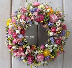 Beautiful Flowers Pictures, Flower Pictures, Love Flowers, Diy Flowers, Flower Decorations, Dried Flower Wreaths, Lavender Wreath, Diy Wreath, Door Wreaths