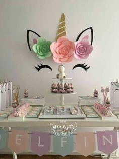 Unicorn Party Buffet This idea is great for our next unicorn party! - Unicorn Party Buffet This idea is great for our next unicorn party! All Unicorn party guests will b - Birthday Party Tables, Birthday Diy, Unicorn Birthday Parties, First Birthday Parties, Birthday Party Decorations, Birthday Ideas, Party Fiesta, Birthday Background, Background Diy
