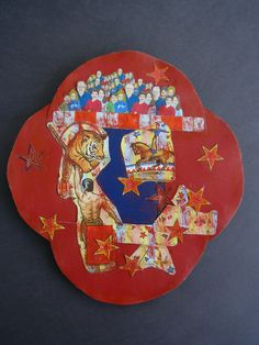 Circus Crowd Metal Collage - Recycled Materials