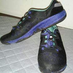 Merrell Light weight sneakers EUC.   Someone will love these!!!!  Black, purple and teal. Worn three times by my eleven year old daughter who decided she did not like them! I would keep them but her feet are bigger than mine.   Comfy and light weight. Supportive and no tying!!!  Feel free to use the offer button! Have fun shopping! Merrell Shoes Sneakers