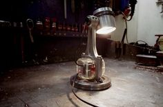 #CarPart, #Design, #Engine, #Lamp, #Light, #Upcycled This desk lamp was made from used engine parts and an old broken lamp.