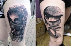 ToKo Loren's thigh tattoos are intriguing with old portraits sliced up with cool effects and futuristic pathways.