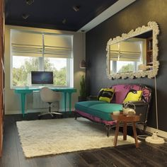 Colorful Apartment Boosting An Unconventional Mix Of Styles - homedit (love this wall color)