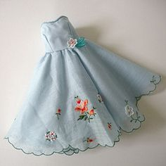 sweet barbie hankie dress..now , we know what to do with grandmother's  hankies stored away  in a box !