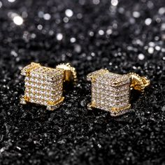 14k Lab-Diamond Square Earring Set #stndrdz-advertisement (Sterling Silver) Square Earrings, Ring Earrings, Gold Jewelry, Jewelry Rings, Hip Hop Artists, Lab Diamonds, Plaque, Druzy Ring, Black Diamond