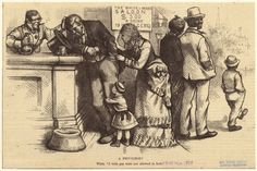 """1875"""" Printed on border: """"Wife. 'I wish you were not allowed in here.' """" Printed on image: """"The white man's saloon $5.00 a drink to n[ig]gers."""