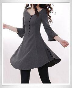 Dark Gray Cotton blouse women shirt fashion shirt vintage shirt--TP014