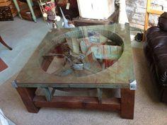 Soooo cool! Industrial fan table